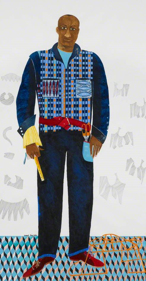 The Tailor, 2010, acrylic on paper by Lubaina Himid (b.1954). © the artist. Photo credit: Manchester Art Gallery